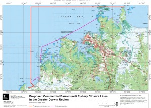 Current and proposed new barra net closure zones near Darwin