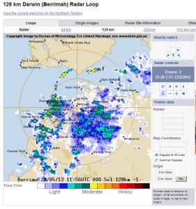 Darwin radar May 23, 10.36pm